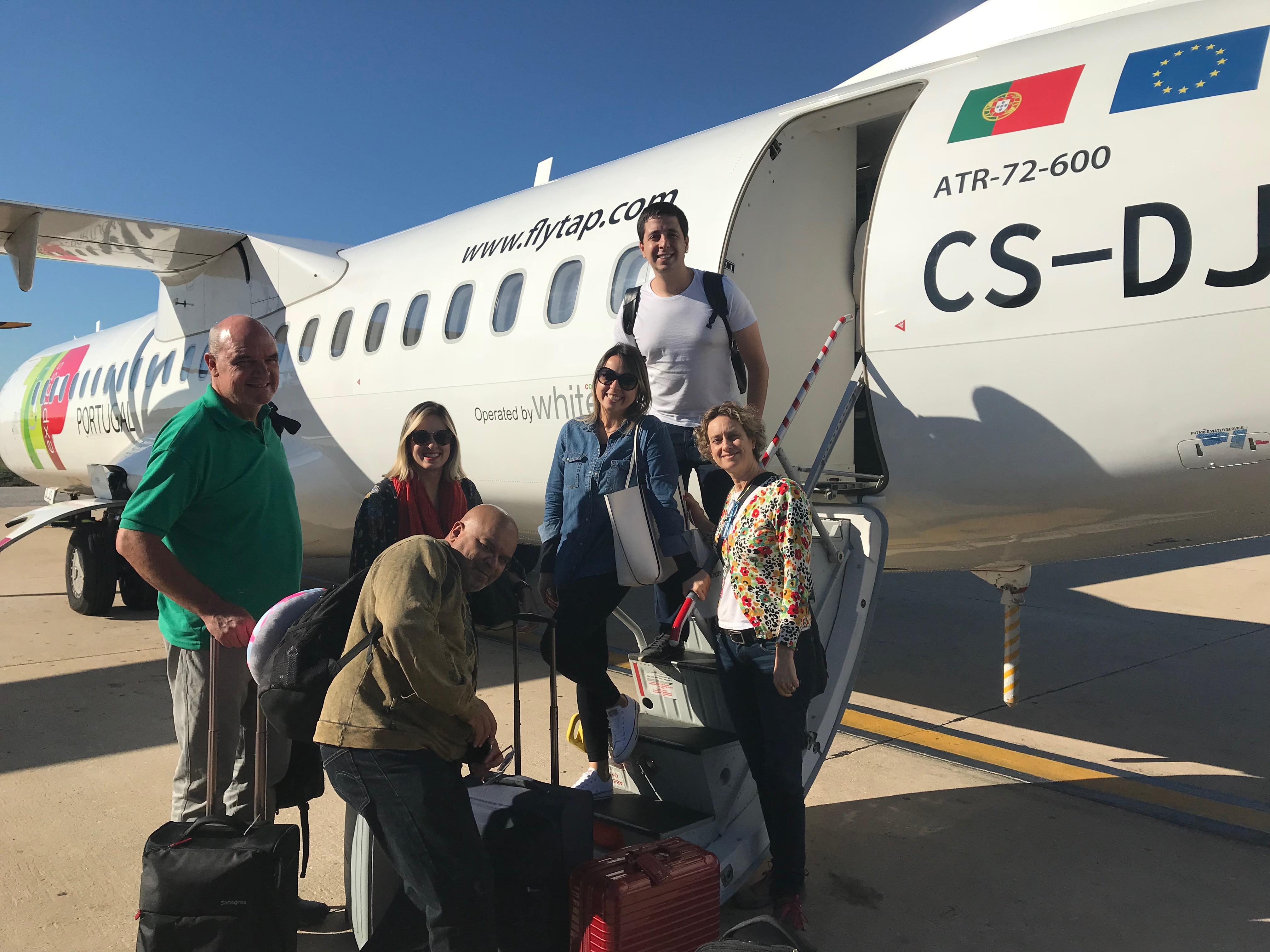 Maurício Walter, da Freeway; Camila Maciel, da Justtur; Sérgio Silva, da Flytour; Taylise Fernandes, da Hello Brazil; Sonia Werblowsky, da Immaginare, e Renan Santana, da Fanato, embarcam no voo da TAP, com destino a Marrakech