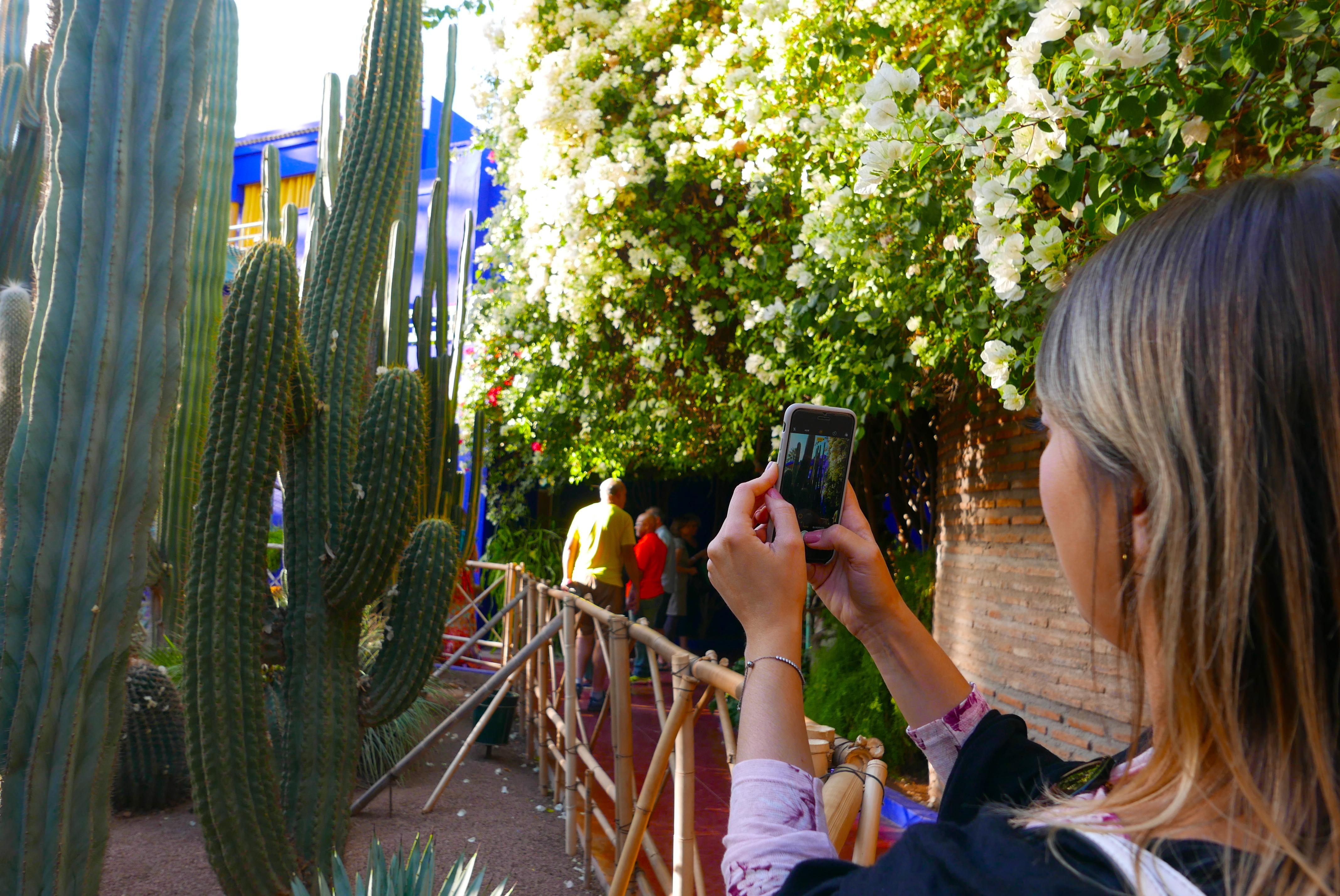 Taylise Fernandes registra imagens da visita aos jardins que pertencem ao Museu YSL