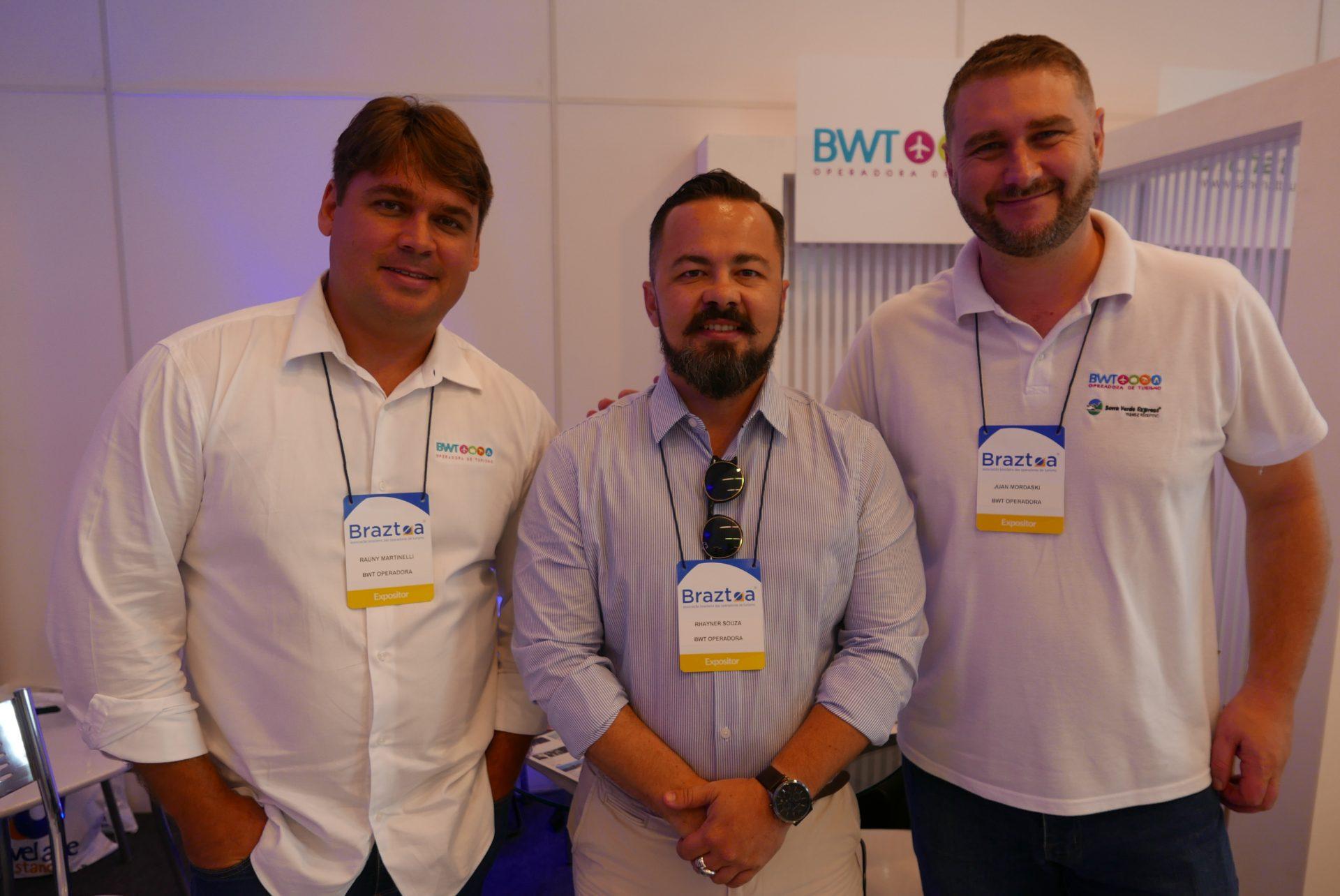 Rauny Martinelli, Rhayner Souza, e Juan Mordaski, da BWT Operadora