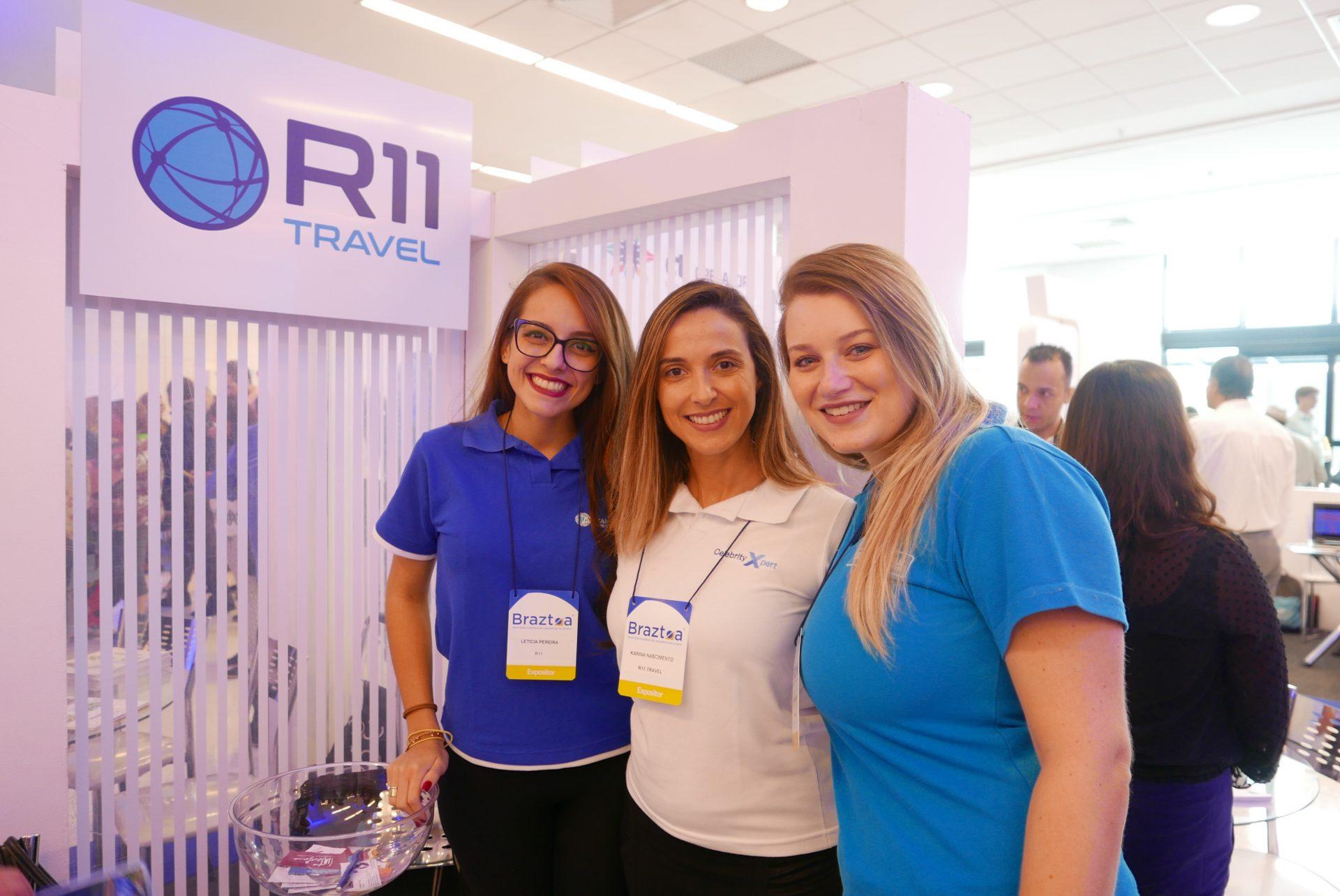Letícia Pereira, Karina Nascimento, e Giulianne Orçati, da R11 Travel