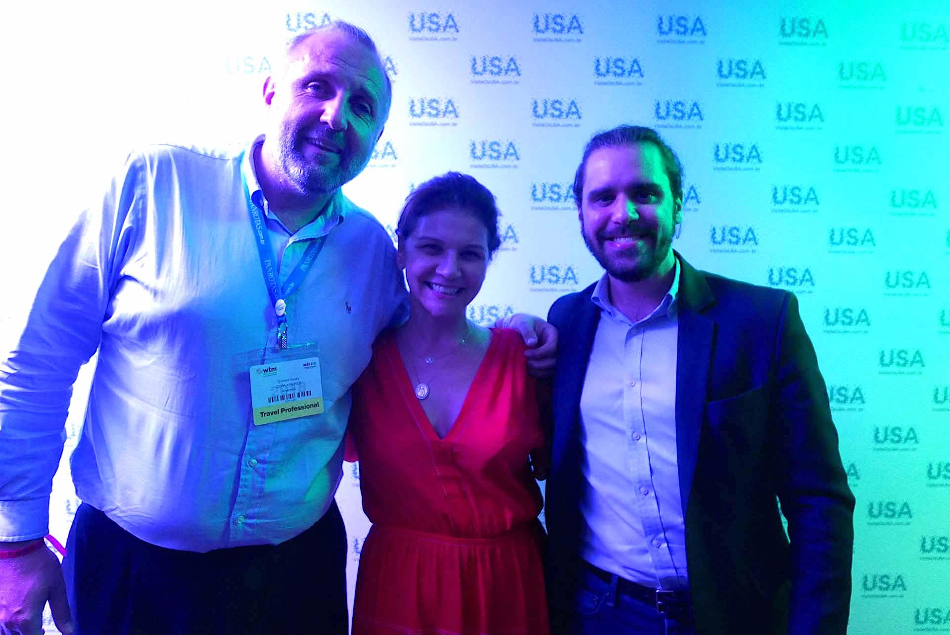 Gustavo Esusy, da Copa Airlines; Danielle Roman, da Interamerican Networ; e Jean-Bruno Gillot, da Experanto