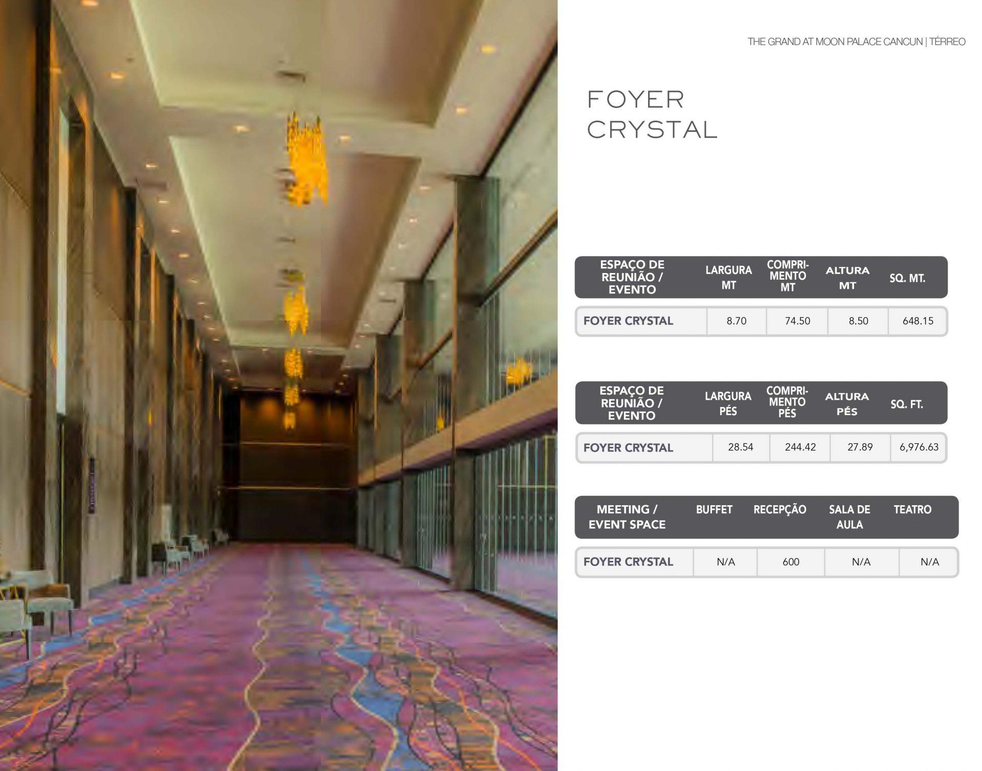 Informações técnicas do Foyer Crystal