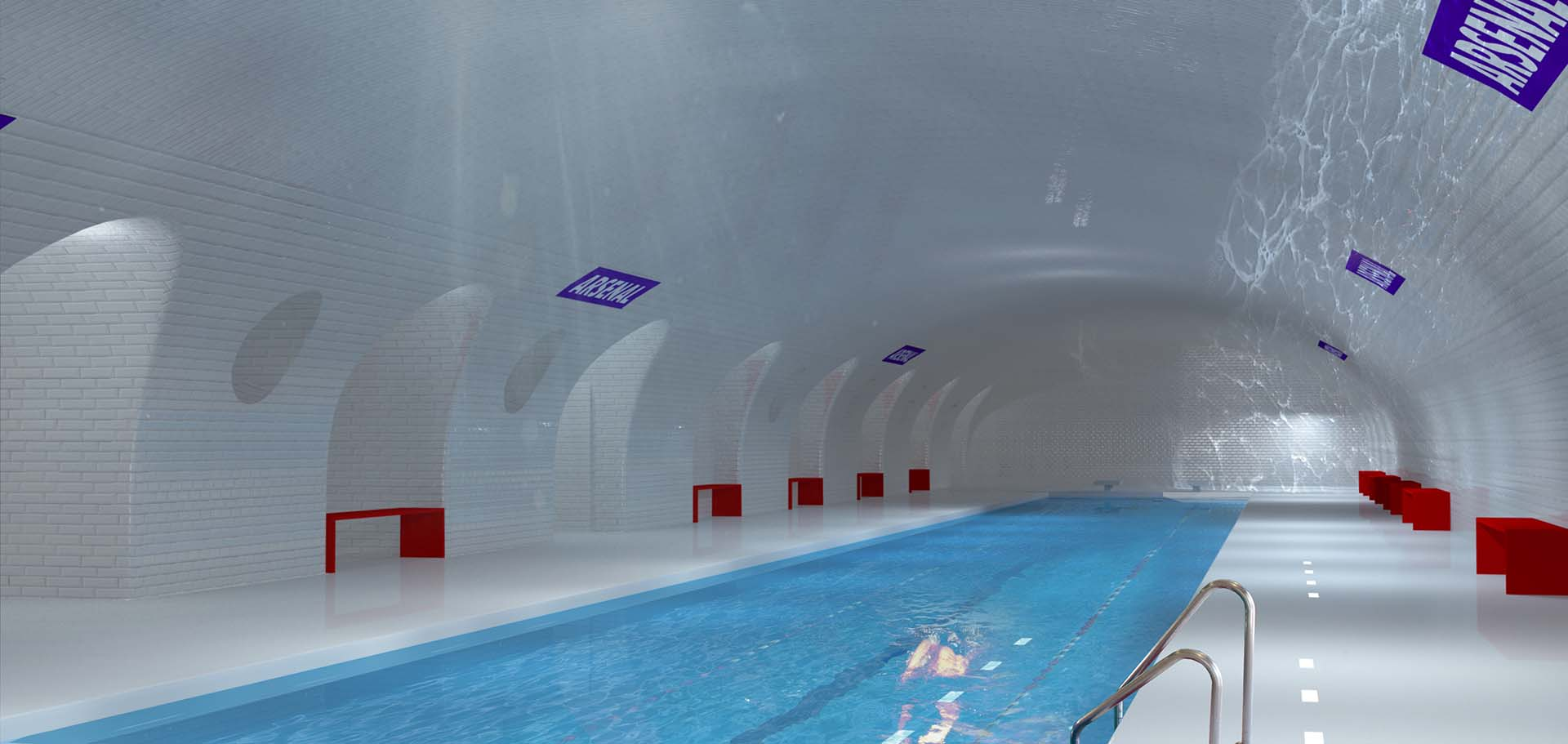 Uma antiga estação do metrô de Paris se transforma em uma piscina pública - esta é uma das propostas inovadora de um escritório de arquitetura francês