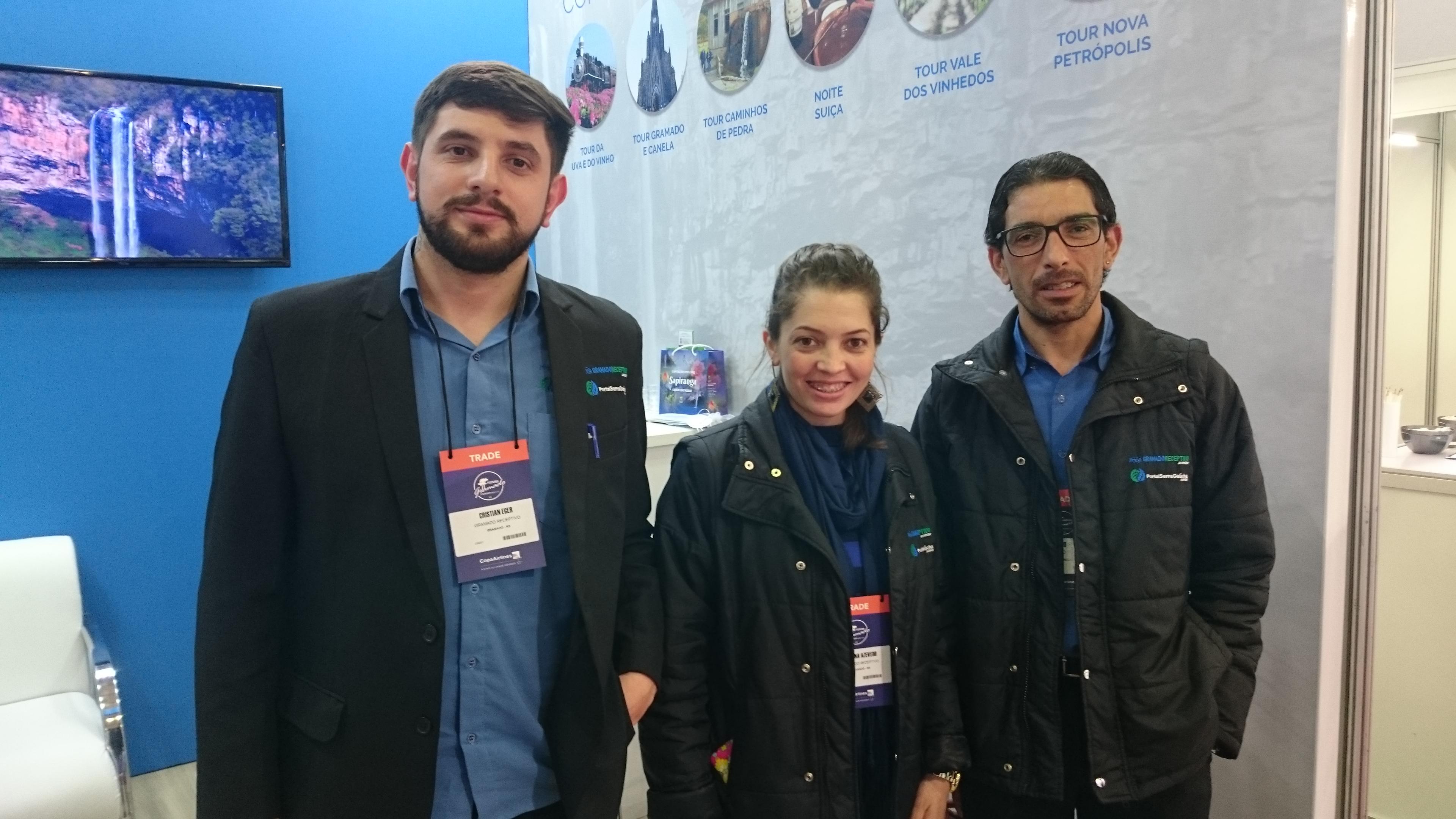 Cristian Eger, Juliana Azevedo e Alvio Silva, da Gramado Receptivo