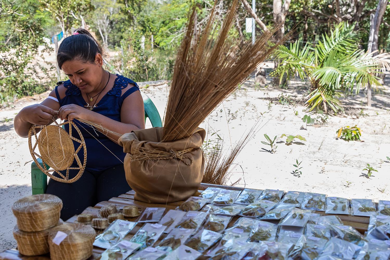 A artesã Adejane e os souvenirs e artefatos feitos com capim dourado