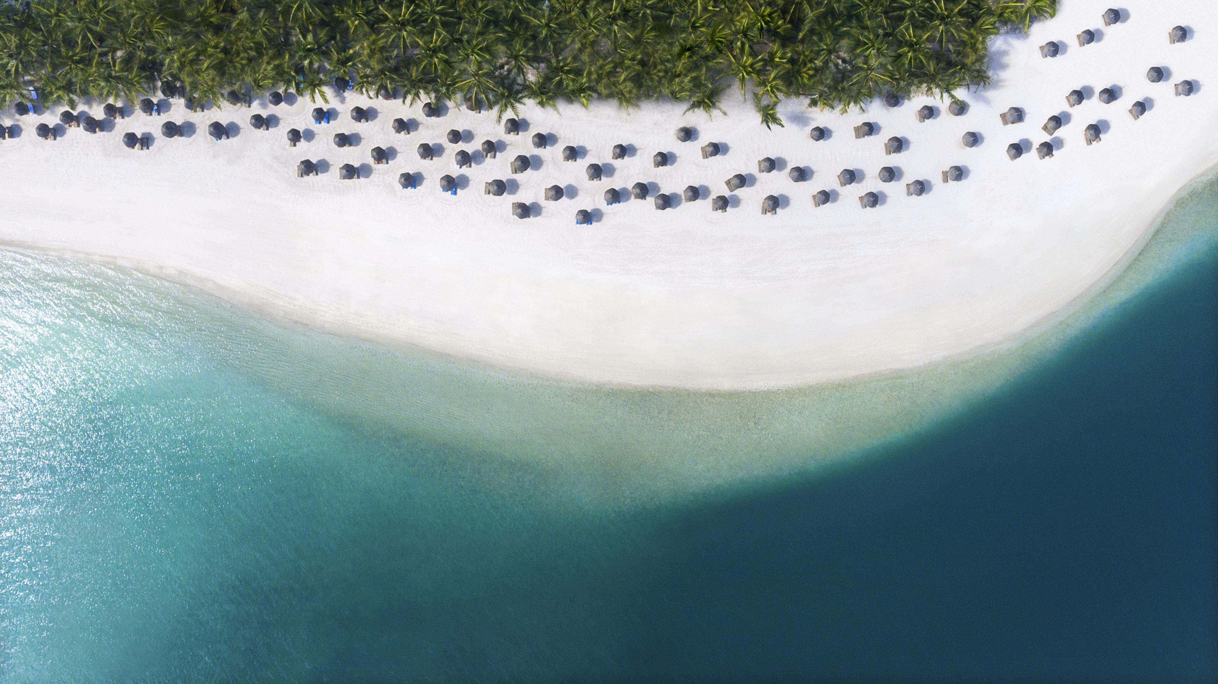 Vista aérea da praia do One & Only Mauritius