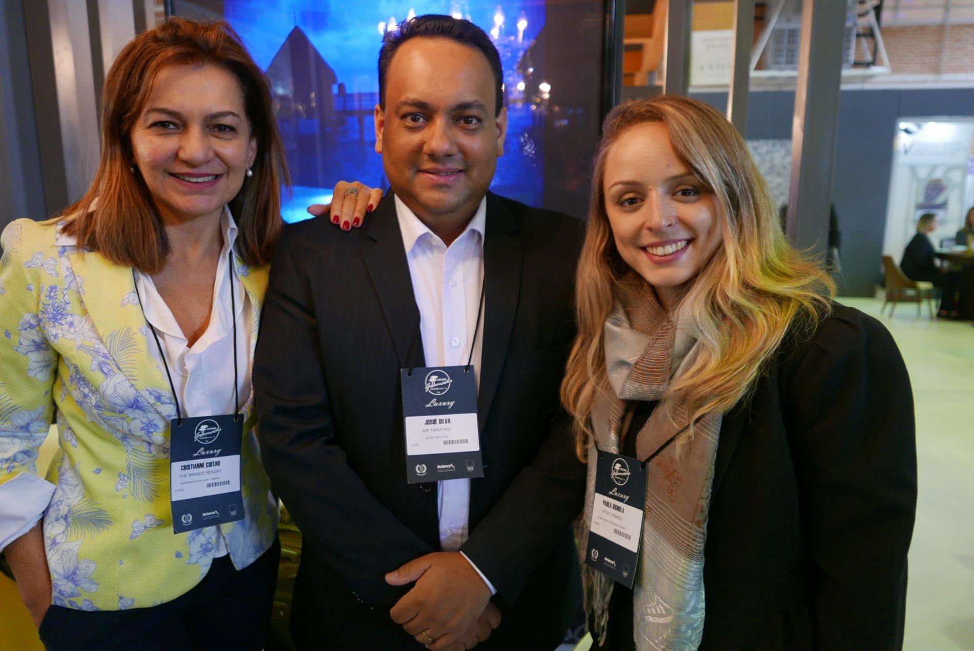 Christiane Coelho, do The Brando Resort; Josué Silva, da Air Tahiti Nui, e Paula Vignola, da Atout France