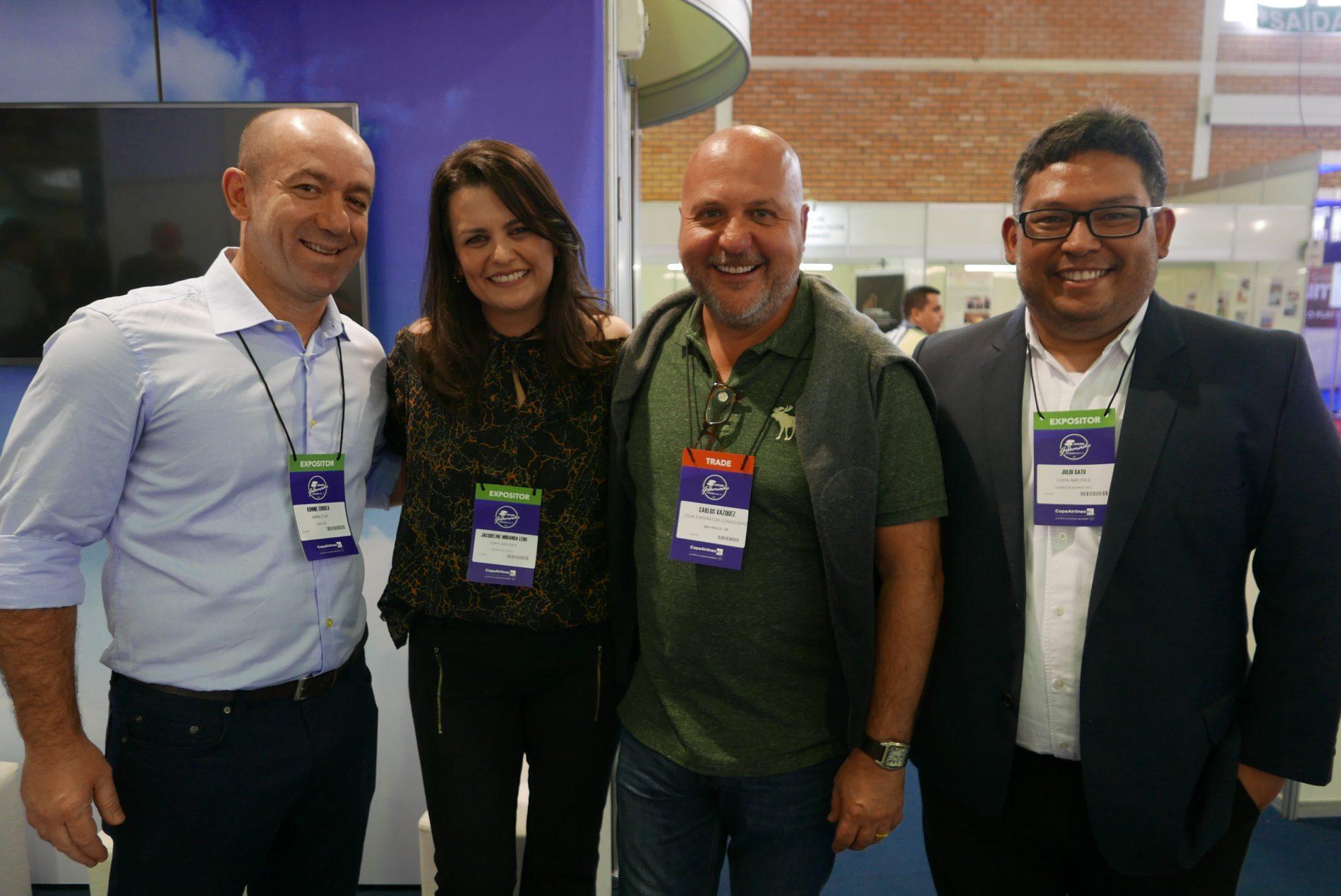 Ronnie Correa, da Abreu, Jackie Ledo, da Copa Airlines, Carlos Vasquez, da Esferatur e Julio Sato, da Copa Airlines