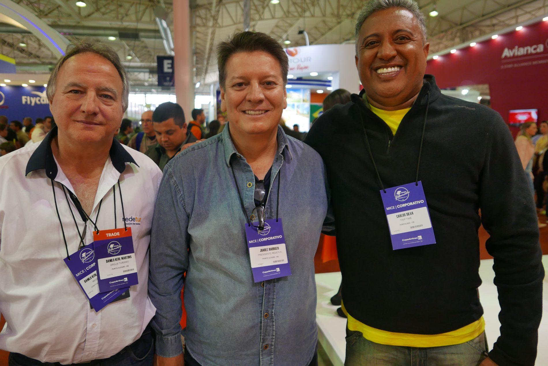 Danilo Martins, da Argus Turismo; Juarez Barrozo, da Redetur, e Carlos Silva, da Trip Time