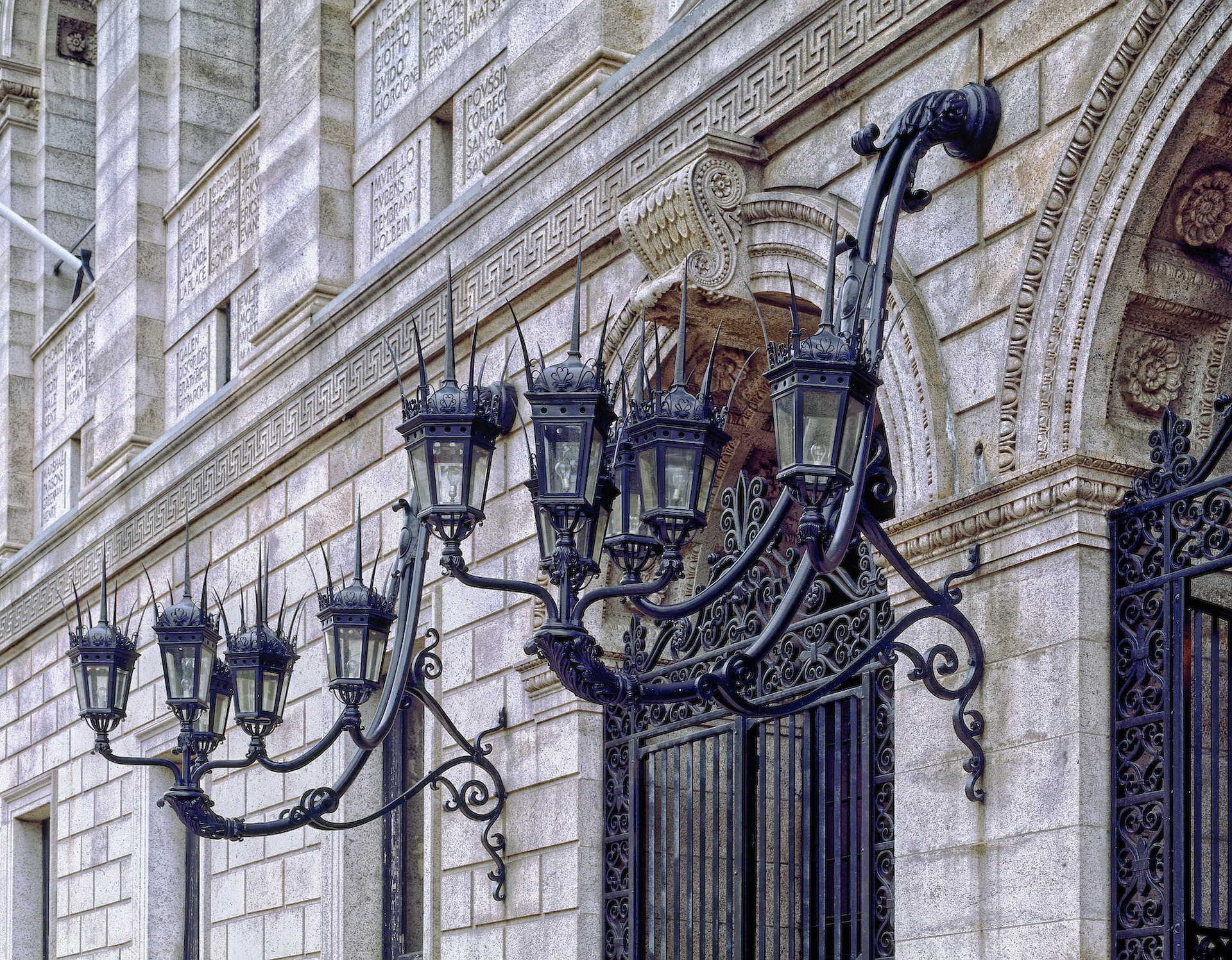 Fachada da public library - biblioteca pública - de Boston