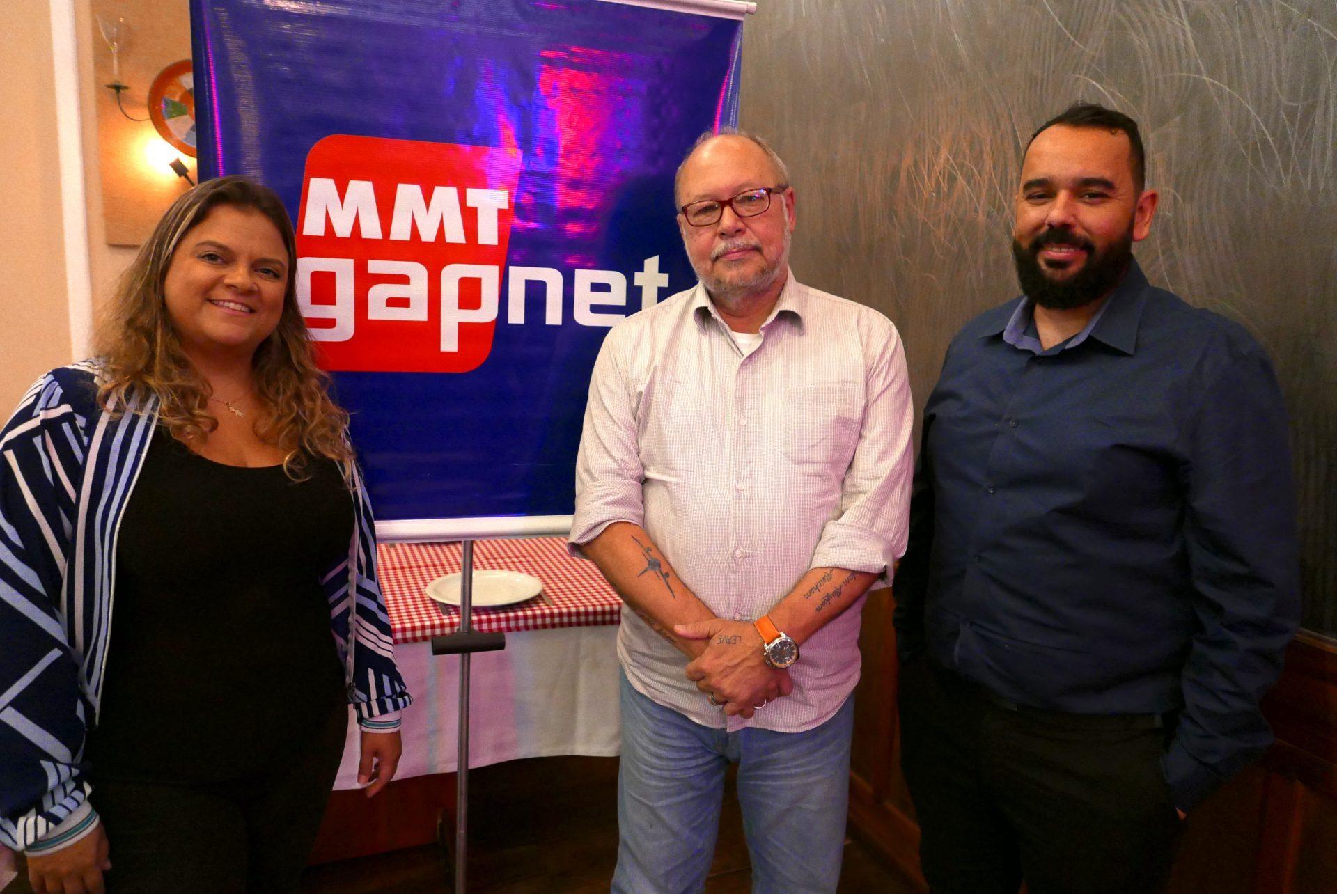 Raíssa Melo, Ronaldo Faria e Clinton Ramos, da MMTGapnet, no evento de capacitação em Belo Horizonte
