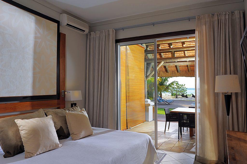 Detalhe do quarto de uma das vilas do resort
