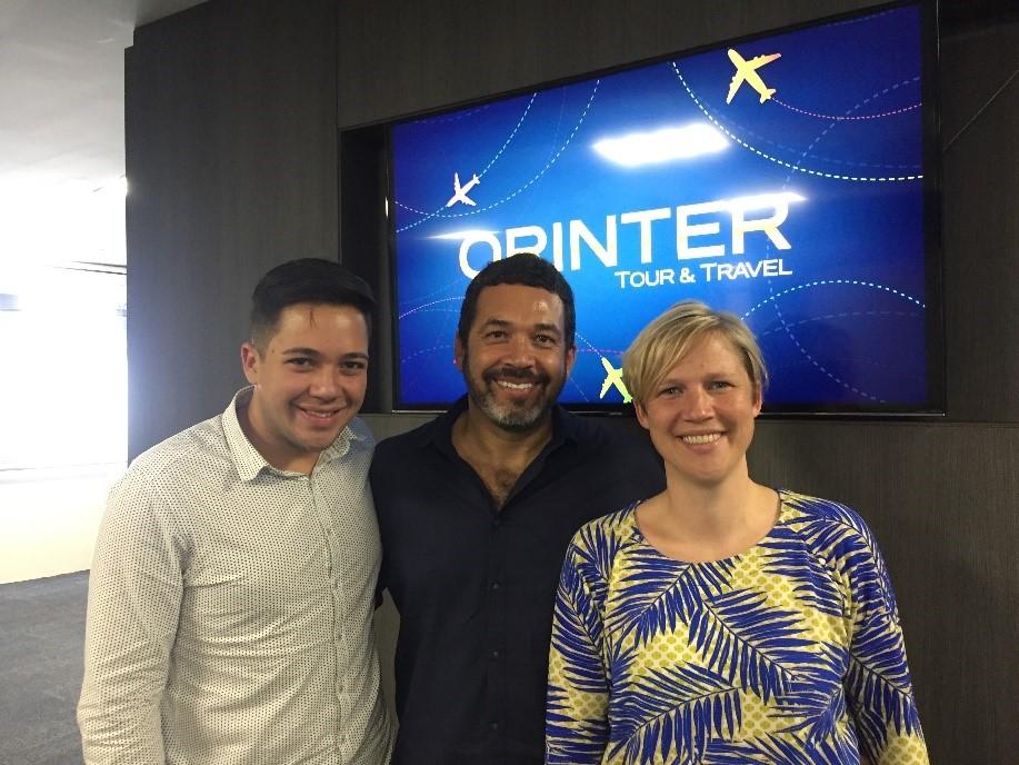 Marcelo Diogo, da Interamerican; Jorge Souza, da Orinter Tour & Travel, e Katrien Dejonghe, gerente Brasil do Visit Flandres, responsável pelo desenvolvimento do mercado brasileiro